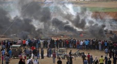 اختناق متظاهرين على حدود غزة جراء قنابل غاز إسرائيلية