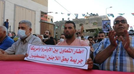 """وقفة احتجاجية بغزة لرفض اتفاقية عودة الدعم الأمريكي لـ""""أونروا"""""""